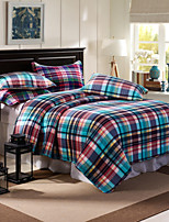 100% Cotton Plaid 3 pieces Quilted Bedspread set,King Size