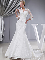 Trumpet/Mermaid Wedding Dress-Court Train V-neck Lace