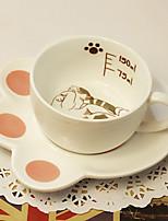 belle brune chat tasse de café