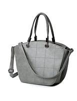 Women PU Barrel Shoulder Bag-Gray / Black