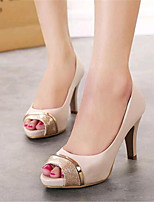 Women's Shoes Leatherette Stiletto Heel Heels / Peep Toe Heels Wedding / Party & Evening Almond