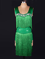 Latin Dance Dresses Women's Performance Spandex Tassel(s) 1 Piece Green Latin Dance