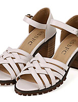 Women's Shoes Leatherette Summer Heels Outdoor / Casual Chunky Heel Buckle Black / White