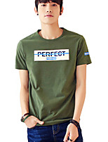 Men's Short Sleeve T-Shirt,Cotton / Acrylic Casual / Sport Print 916040