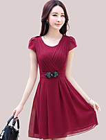 Women's Going out / Plus Size Simple / Boho Sheath Dress,Solid Round Neck Above Knee Short Sleeve Blue / Pink / Red / Black / Purple Rayon