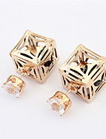 Elegant Women's Fashion Summer Jewelry Hollow Flower Studs Earrings Double Side Shiny Square Ear Studs