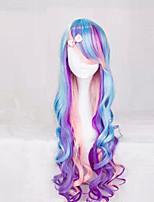los nuevos anime de lechuga romana pelucas degradado de color púrpura mezcla peluca pelo rizado tricolor