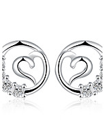 Concise Silver Plated Crystal Heart in Circle Design Stud Earrings for Party Women Jewelry Accessiories