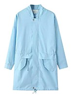 Women's Solid Blue / White / Black Trench Coat,Street chic Long Sleeve Cotton