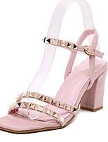 Women's Shoes Fleece Summer Heels Outdoor / Casual Chunky Heel Beading Black / Pink / Gray