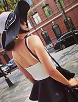 Women Straw Color Block Bow Floppy Hat,Cute / Party / Casual Spring / Summer / Fall