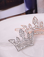 Women's European Style Fashion Elegant Shiny Rhinestone Crown Hairpin