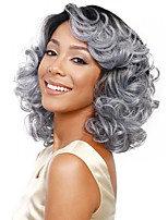 Women Long Body Wave Synthetic Hair Wig Silver