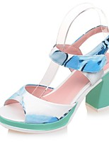 Women's Shoes Chunky Heel Peep Toe / Platform Sandals Party & Evening / Dress / Casual Blue / Green / Pink