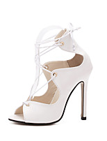 Women's Shoes Microfibre Stiletto Heel Heels / Peep Toe Sandals / Heels Party & Evening / Dress / Casual Black / White