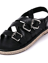 Women's Shoes Leatherette Summer Comfort Outdoor / Casual Flat Heel Buckle Black / White