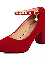 Women's Shoes Leatherette Chunky Heel Heels Heels Office & Career / Dress / Casual Black / Red