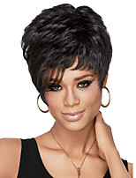 Women Short Curly Synthetic Hair Wig Black