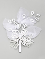 Women's / Flower Girl's Lace / Alloy / Imitation Pearl Headpiece-Wedding / Special Occasion Hair Pin 1 Piece White Round