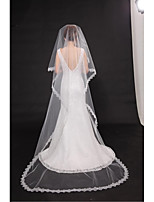 Wedding Veil One-tier Chapel Veils Cut Edge / Lace Applique Edge Tulle Beige