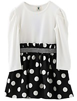Girl's White Dress,Dot Cotton Spring / Fall