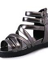 Women's Shoes Leatherette Summer Comfort Outdoor / Casual Flat Heel Black / Pink / White / Silver / Gray / Gold