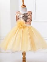 A-line Knee-length Flower Girl Dress-Satin / Tulle Sleeveless