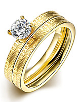 2016 Luxury Zircon Polka Dot Gold Titanium Steel Romantic Wedding Couple Ring