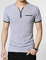 Men's Solid Casual T-Shirt,Cotton Short Sleeve-Blue / Gray