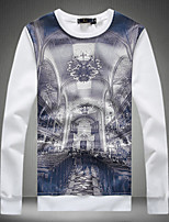 Men's Print Casual T-Shirt,Cotton Long Sleeve-Black / Blue / White