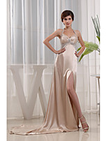 Formal Evening Dress-Champagne A-line Halter Court Train Charmeuse