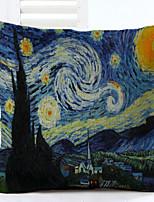 Van Gogh Star Pattern Linen Pillowcase Sofa Home Decor Cushion Cover (18*18inch)