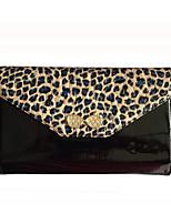 Women PU / Cowhide / Patent Leather Bowknot Leopard grain Bi-fold Shoulder Bag / Clutch / Wallet-Blue / Yellow / Black