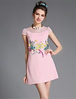 Fashion Vintage Plus Size Women's Luxury 3D Bead Embroidered Hollow High Quality Slim Summer Dress Party/Daily