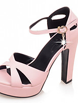 Women's Shoes Leatherette Chunky Heel Peep Toe Sandals Office & Career / Party & Evening / Dress Blue / Pink / Beige