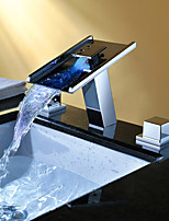 Contemporary Chrome Brass Personalized Two Handles Three Holes LED Bathroom Sink Faucet - Silver