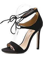 Calçados Femininos-Sandálias-Saltos-Salto Agulha-Preto / Amêndoa-Flanelado-Festas & Noite