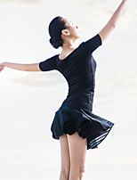 Ballet Outfits Women's Performance Spandex / Polyester Draped / Pleated 2 Pieces Black Ballet Backless Short Sleeve