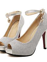 Women's Shoes Leatherette Stiletto Heel Heels / Peep Toe Heels Wedding / Party & Evening Black / Red / Silver
