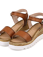 Women's Shoes Leatherette Summer Creepers Outdoor / Casual Platform Buckle Brown / White