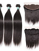 3 Bundles Peruvian Virgin Hair Straight with 13X4 Lace Frontal Closure Unprocessed Human Hair Weaves with Lace Frontal