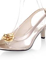 Chaussures Femme-Mariage / Habillé / Soirée & Evénement-Noir / Argent / Or-Talon Cône-Bout Ouvert / A Bride Arrière-Sandales-Similicuir