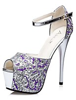 Women's Shoes AmiGirl 2016 New Style Night Club/Party/Dress Black/Silver/Purple Stiletto Heel Sexy Sandals
