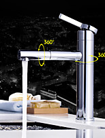Deck Mounted Single Handle One Hole in Chrome Bathroom Sink Faucet
