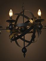 American Style Country Retro Living Room Chandeiler Iron Candle Globe Suspension Lights