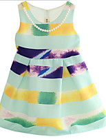 Girl's Green Dress,Stripes Cotton Summer