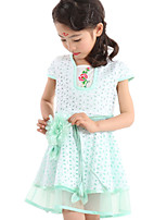 Girl's Dress,Cotton / Polyester Summer Green / Pink / Yellow