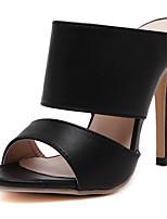 Chaussures Femme-Mariage / Bureau & Travail / Habillé / Décontracté / Soirée & Evénement-Noir / Blanc-Gros Talon-Talons / Bout Ouvert / A
