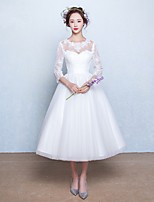 A-line Wedding Dress-Tea-length Jewel Lace / Tulle