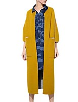 Women's Solid Red / Black / Gray / Yellow Coat,Street chic ¾ Sleeve Polyester